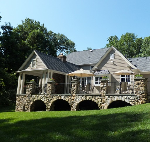 covered porch stone terrace architect nj hunterdon county